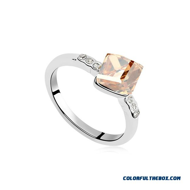 Wholesale Custom Manufacturers Crystal Ring - Water Cube Fashion Women Fine Jewelry