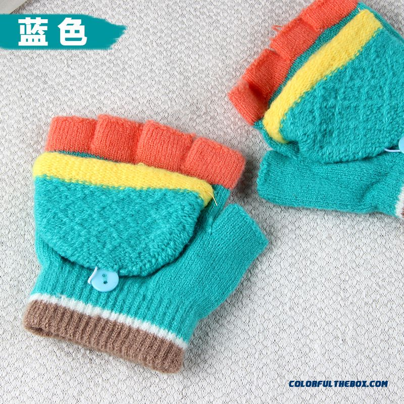Winter Half-finger Gloves Clamshell Boys And Girls Students Girls Kids Write Special Mittens