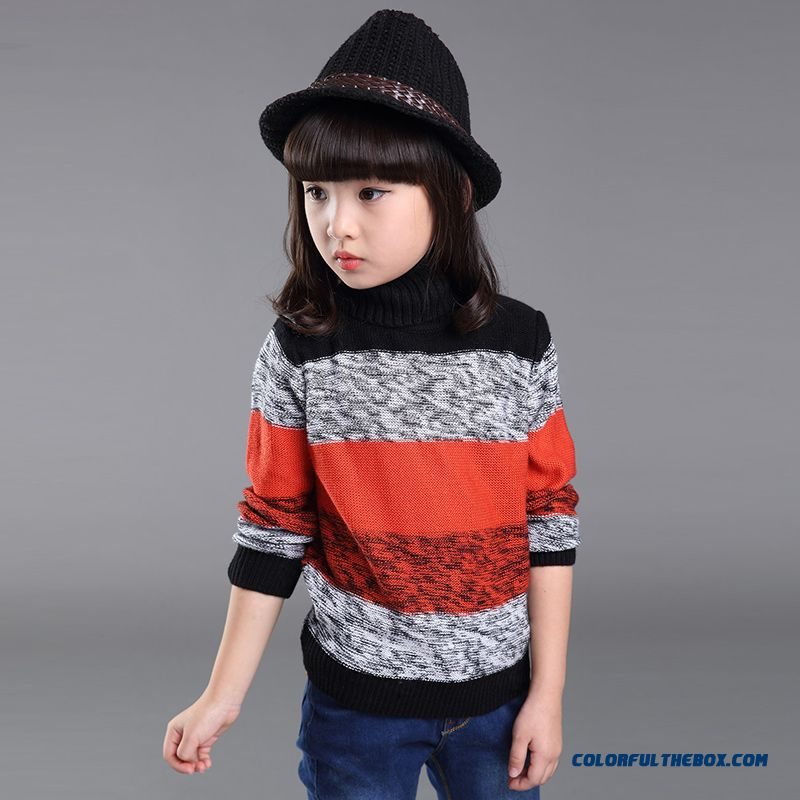 Cheap Winter New Striped Turtleneck Sweater Korean Style Big Girls ...