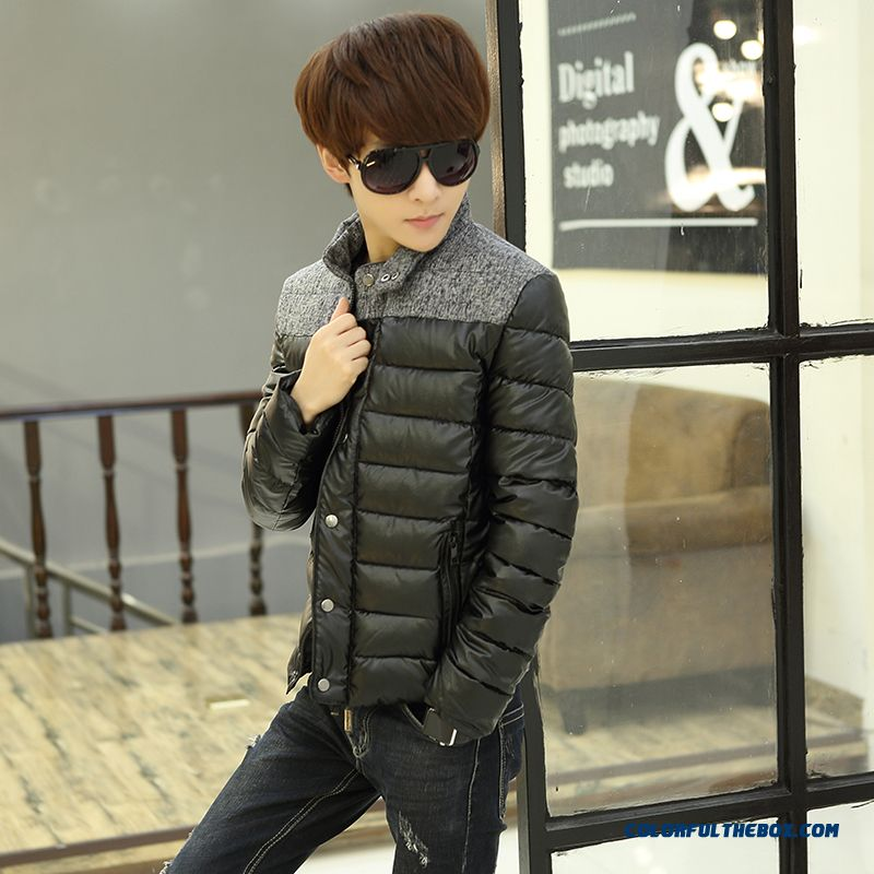 Winter New Teen Men Coat Casual Short Stand Collar Thick Cotton Coats Tide