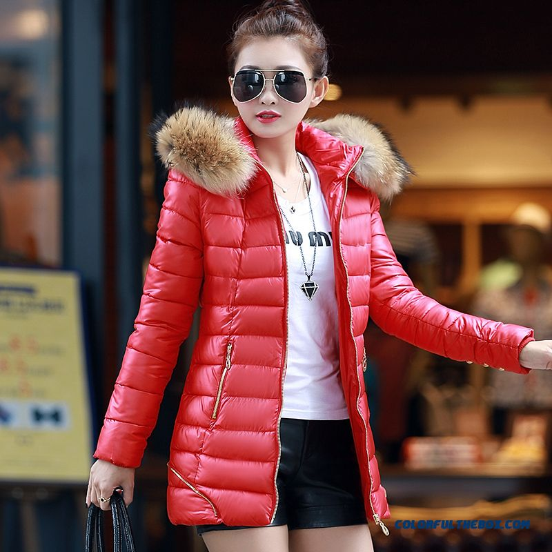 Cheap Winter New Women S Hooded Coatlong Large Red Fur Collar Thick