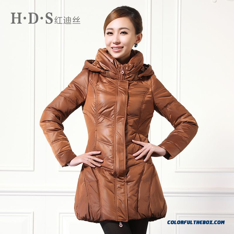 Winter New Women's Hooded Coats Thicken Medium-long Black Brown Keep Warm