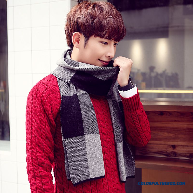 Winter Outdoor Sports Essential Men's Accessories High-end Business Plaid Scarf