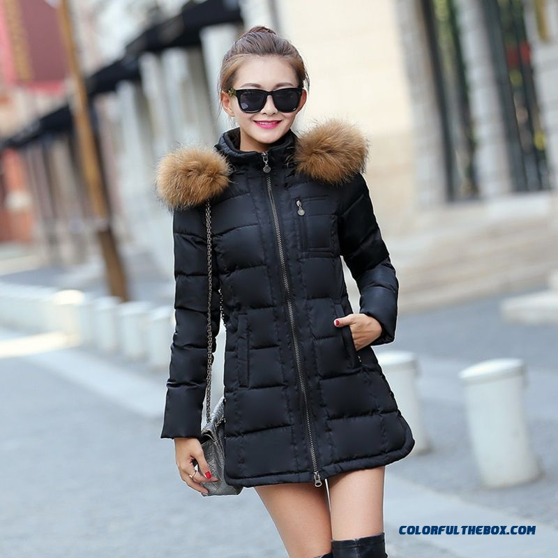 Cheap Winter Women's Fur Collar Female Coats Medium Length Blue ...