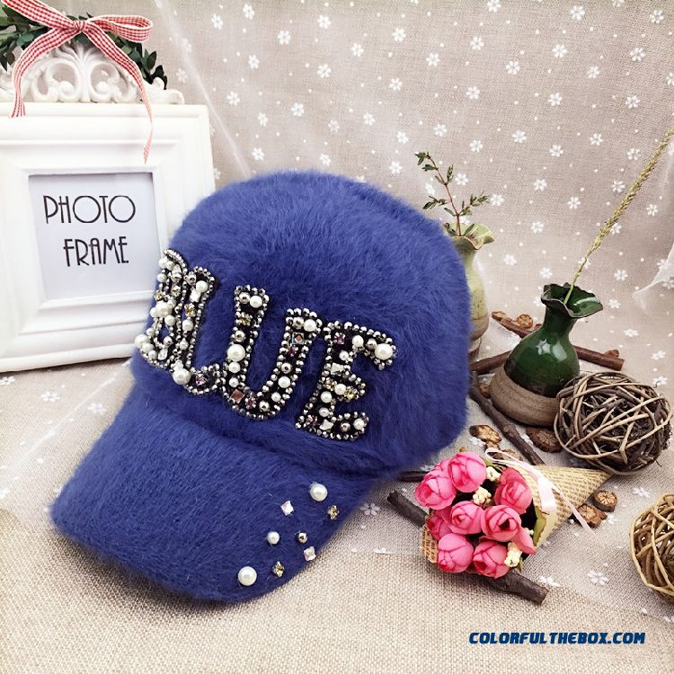 Women Accessories Butterfly Fashion Casual Outdoor Warm Letter Rhinestone Baseball Cap Sunshade Hat Peaked Cap