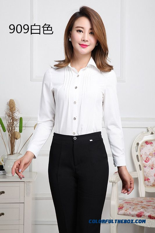 Cheap Women Clothing Business Attire Long Sleeved Shirt Solid Color