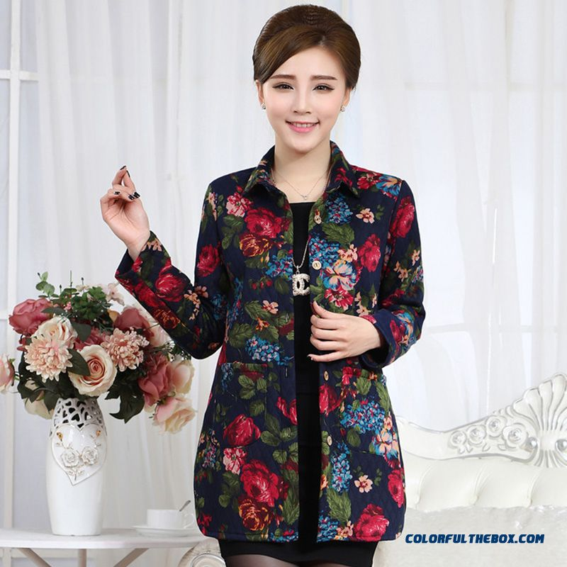 Women Preferred Spring Clothing Long-sleeved Shirt Loose Plus Size Mother Dclothing Thick Coat