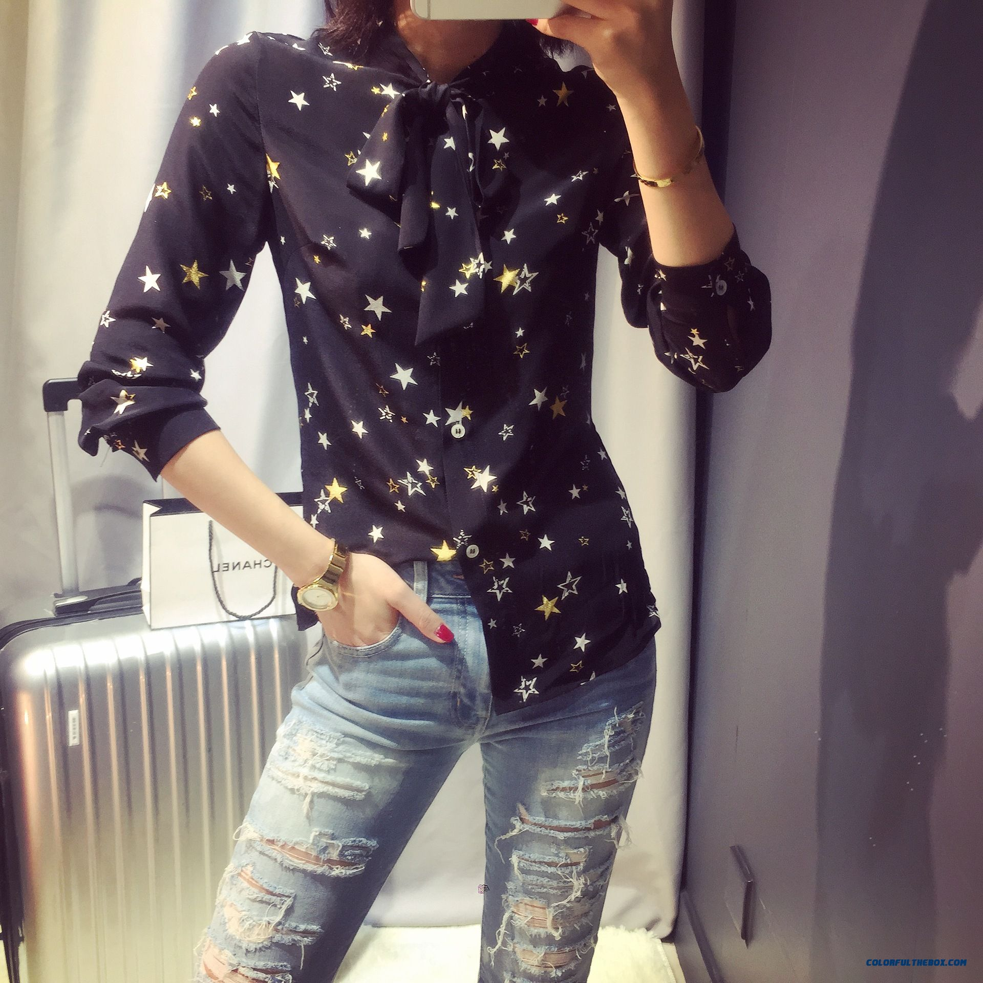 Women Spring And Summer Ladies Clothing Star Printing Long-sleeved Shirt Fashion