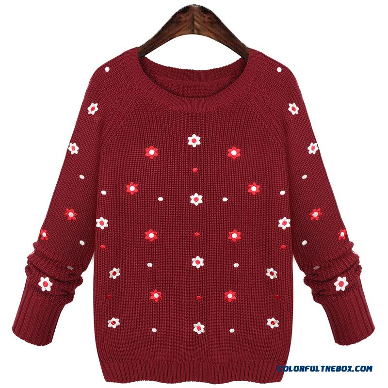 Women Sweater Bottoming Shirt Pull Blouson Round Neck Red Blue Flower Pattern