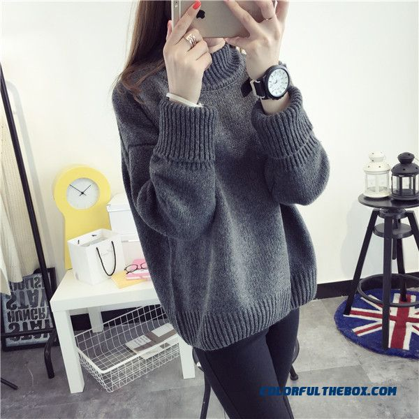 Cheap Women Sweater High Neck Thick Loose Pull Blouson Bottoming ...