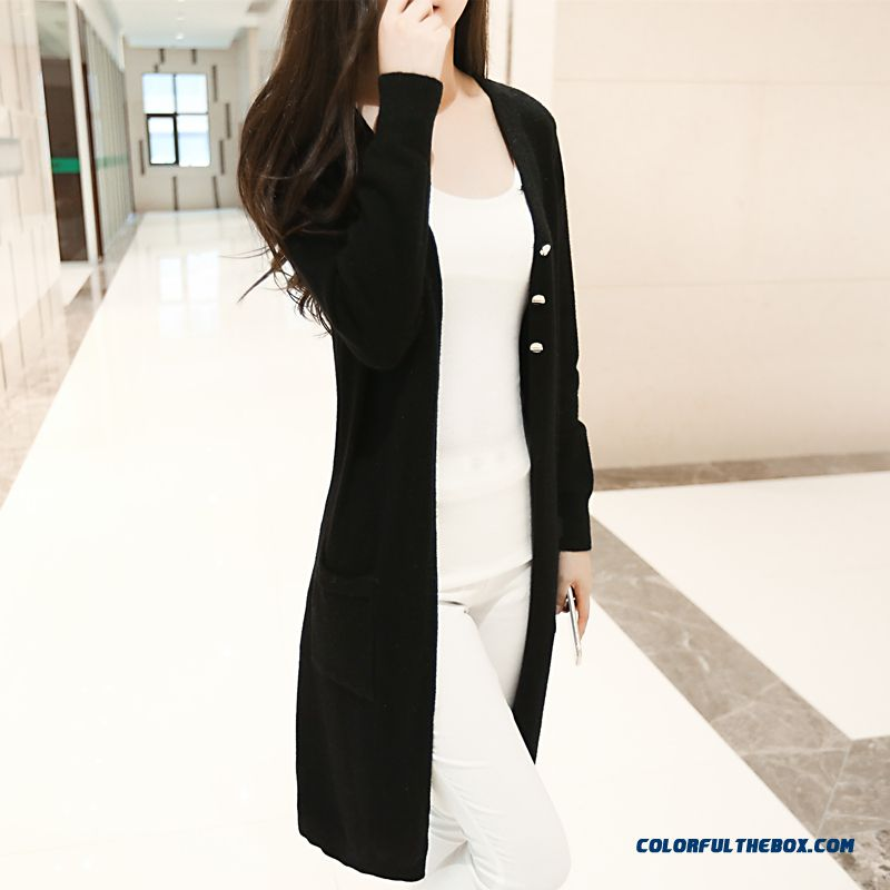 Cheap Women Sweater Lady Cardigan Medium Long Coats Three Buttons ...
