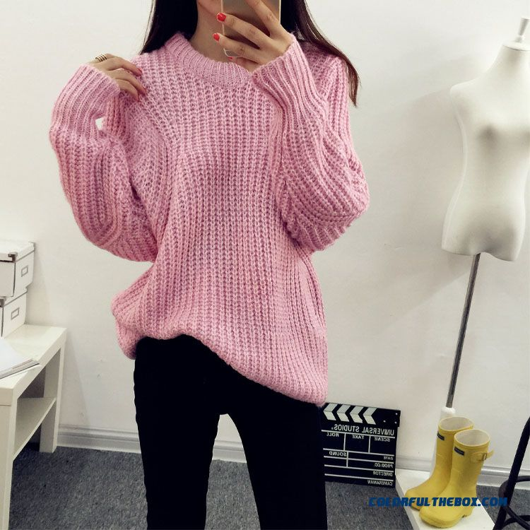 Cheap Women Sweater Round Neck Loose Pull Blouson Bottoming Shirt ...