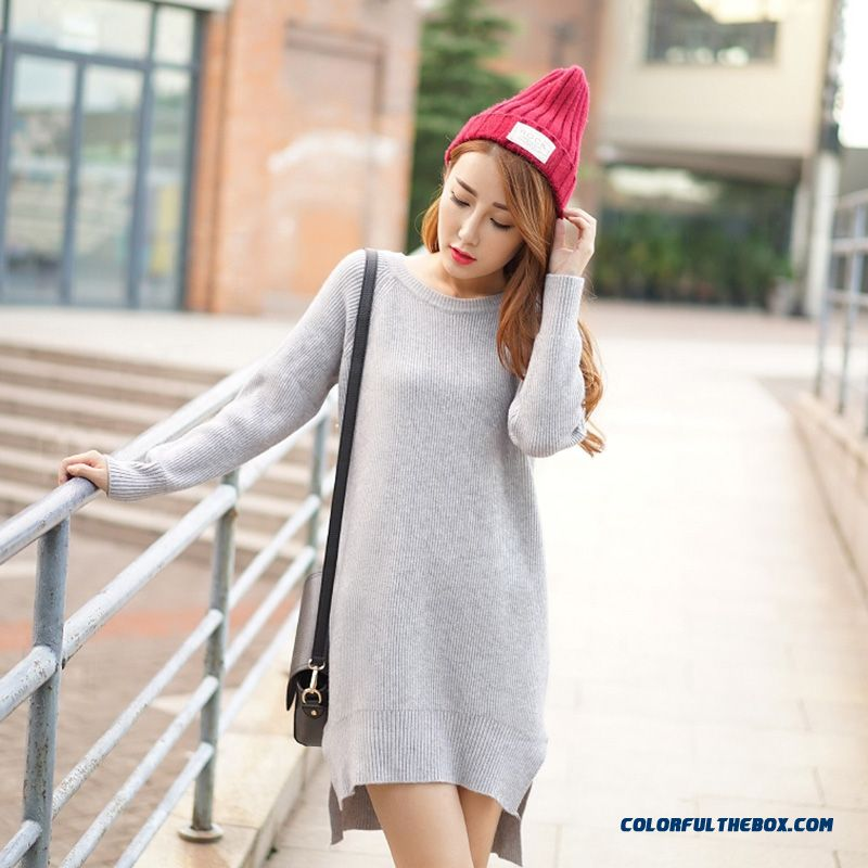 Women Sweater Round Neck Pull Blouson Bottoming Shirt Lady Sweater Coat Dress Red Grey Black
