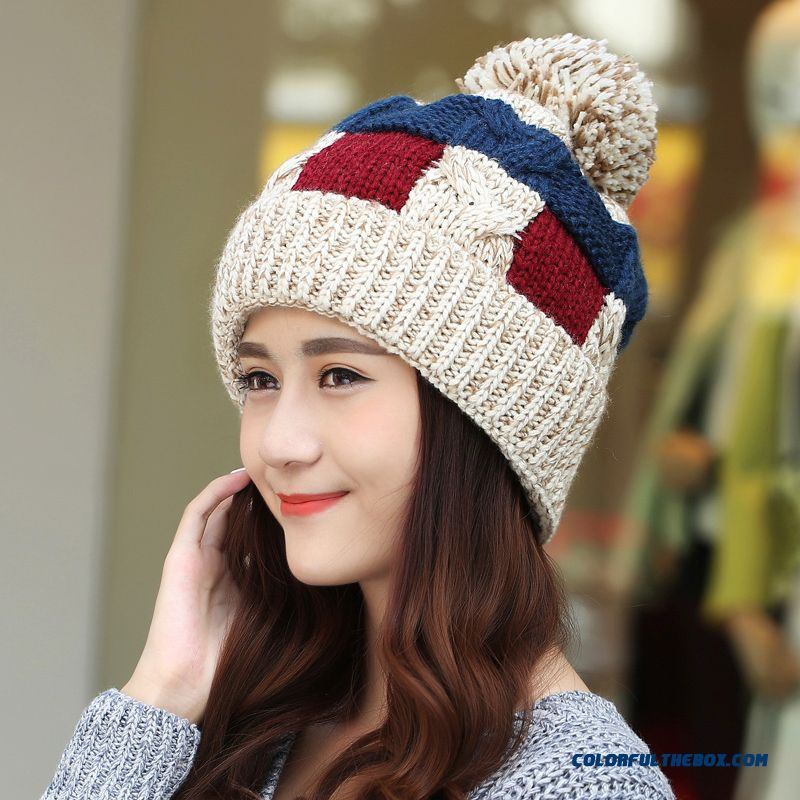 cheap women winter korean style tidal fashion cute knitted hat with protect ear function sale online