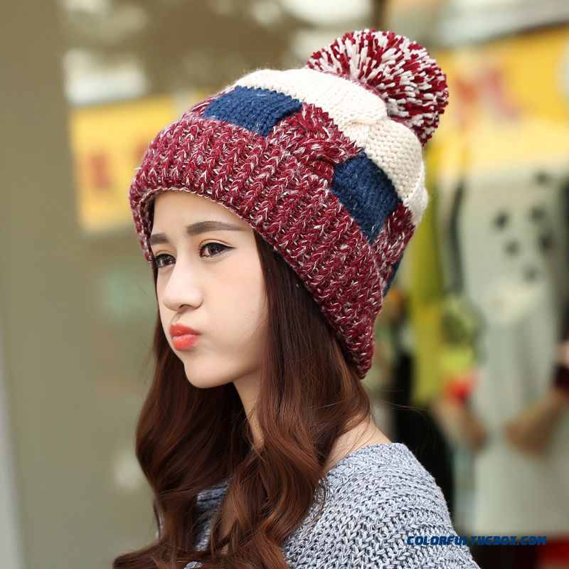 ... Women Winter Korean Style Tidal Fashion Cute Knitted Hat With Protect  Ear Function ... ea1a72beaae7