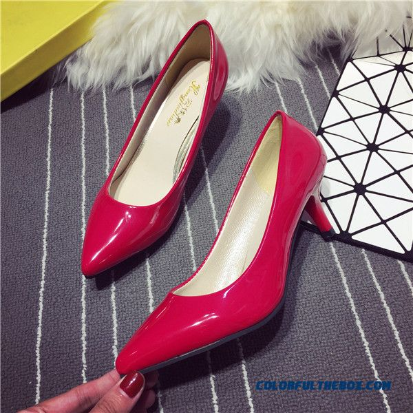 19402fb6a6 ... Women Work Shoes Red High Heels Pointed Fine Heel Shallow Mouth Pumps  ...