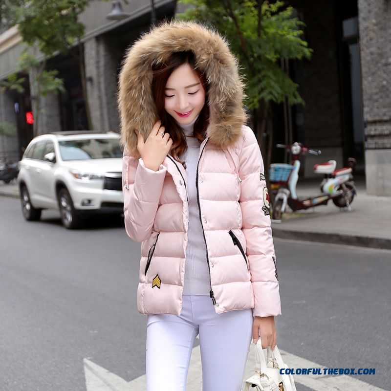 Women's Coat Slim Pink Thick Fur Collar Female Hooded Padded Cotton Jacket