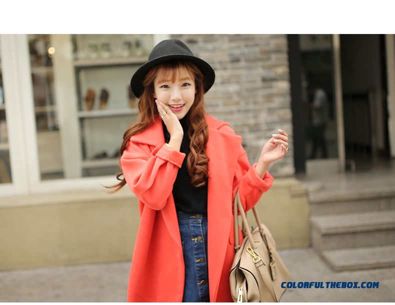2015 Autumn New Large Size Women Thin Candy-colored Long Sections Woolen Coat Coat - detail images