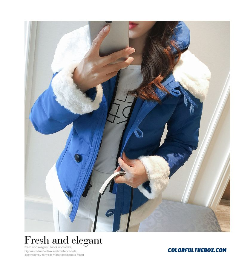 2015 Hot Selling Women Wear Coats Thicken Short White Student Cotton-padded Clothes - detail images