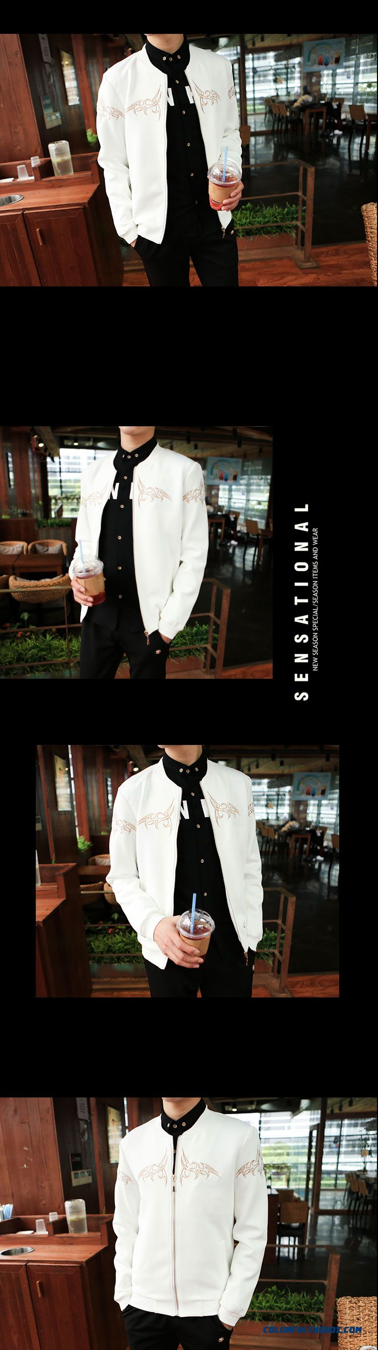 2015 Men's Baseball Uniform Coat Jacket Slim Baseball Clothes Tide - detail images