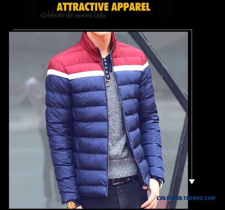 2015 Men's Thick Winter Stand Collar Slim Warm Padded Cotton Large Size Comfortable Coats - detail images