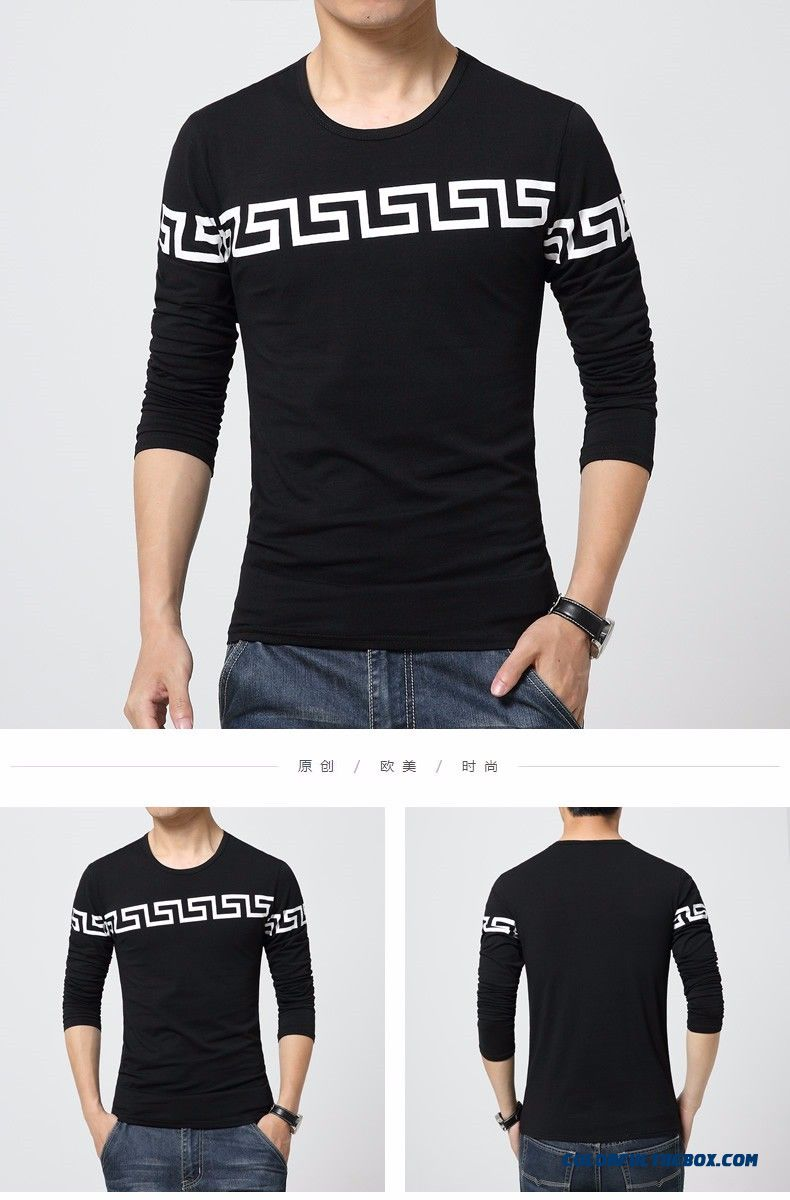 d8f6be512df ... 2015 New Autumn Fashion Brand Mens T-shirts Slim Fit Long Sleeve Cotton  O Neck ...