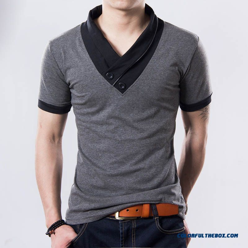 2015 New Plus Size Mens Summer Casual T-shirt Fashion Slim Short Sleeve V Neck T Shirt Button Decorating Tees / Tops - detail images
