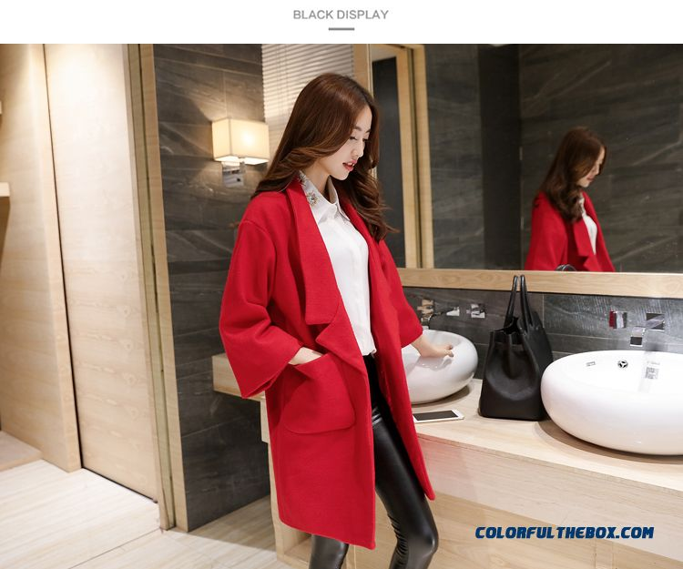 2015 New Spring And Autumn High Quality Fashion Slim Suit Loose Lapel Women's Woolen Coat - detail images