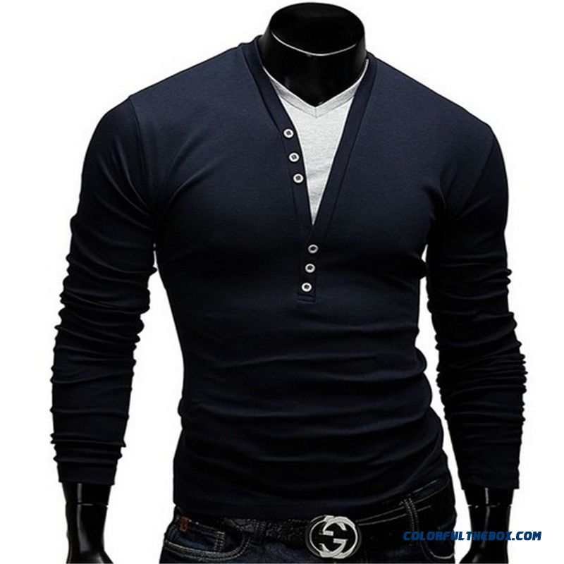 2016 New Wild Men's Fashion Spell Color V-neck T-shirt Fake Two Men's Casual Long-sleeved T-shirt - detail images