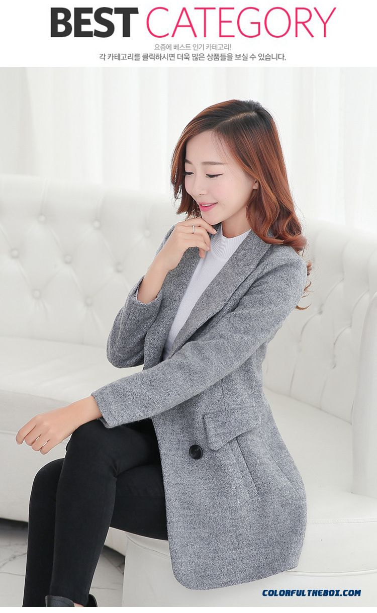 2016 New Winter Woolen Coat Women Korean Version Of Slim Medium-long Woolen Coat Free Shipping - detail images