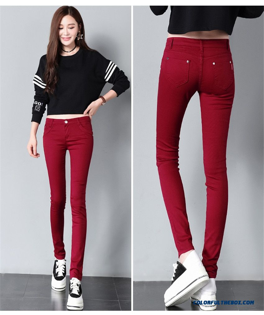2018 Spring Women's Basic Pants Pencil Casual Trousers Elastic Pants For Women Slim Ladies Jean Trousers Female Many Color - detail images
