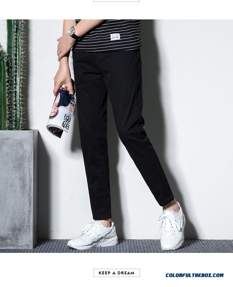 2019 Men's Trend Straight Summer Europe Pants Slim Spring Leisure Red All-match Ninth Pants - detail images