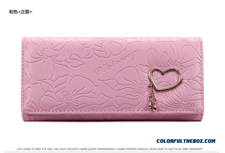 5 Colors Available Women Wallets Three Fold Clutch With Love Decoration Small Bags - detail images
