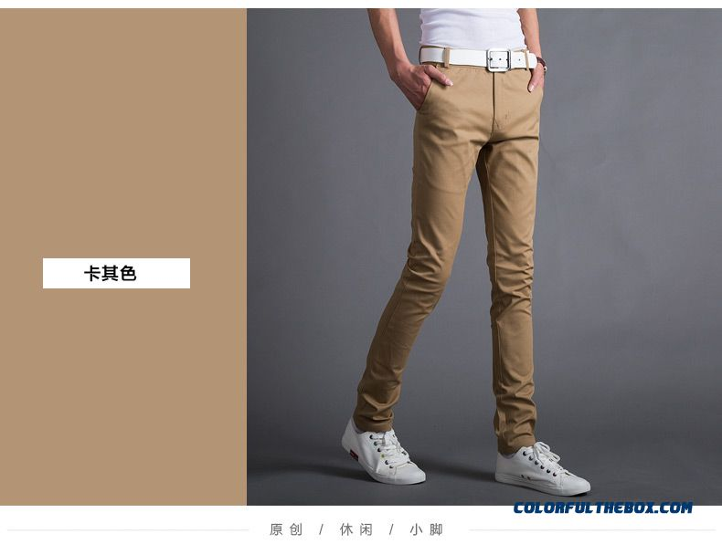Autumn And Winter Men's Casual Cotton Slim Straight Thick Long Plus Velevt Pants - detail images
