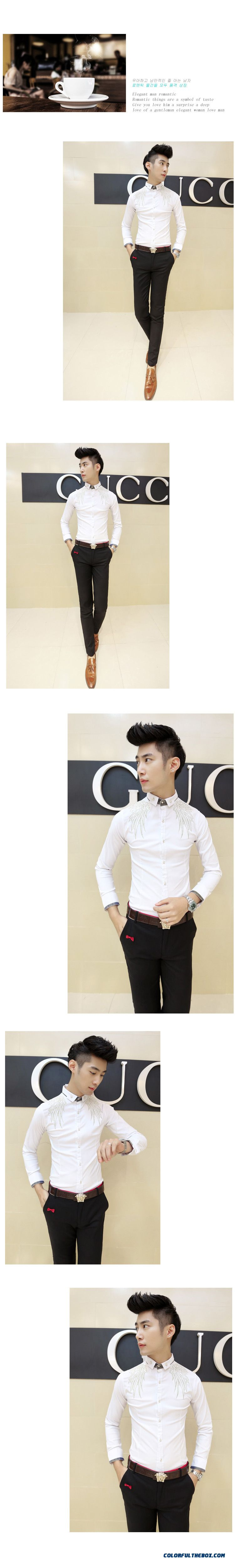 Autumn And Winter Men's Long-sleeved Shirt Korean Version Of Slim Casual Embroidery - detail images