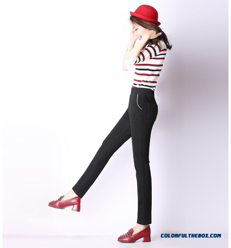 cheap autumn and winter women casual pants large size thick elastic high waist and thin straight