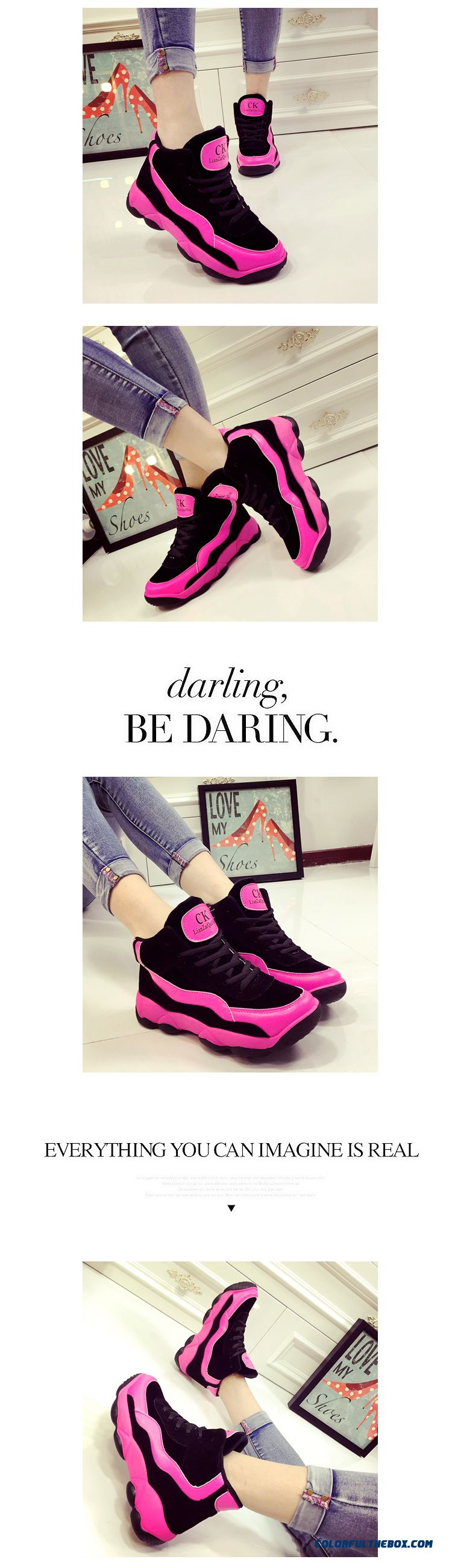 Autumn New Casual Shoes Spell Color Thick Bottom Large Size Running For Women - detail images