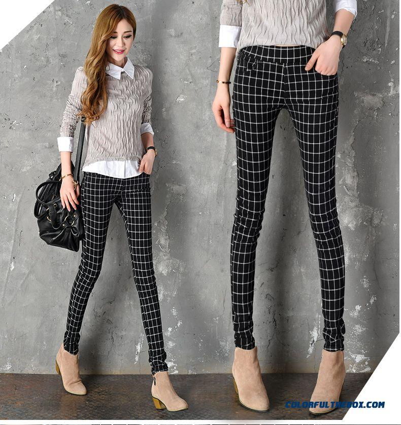 cheap autumn new women u0026 39 s casual elastic thin bottoming outer wear plaid pants slim sale online