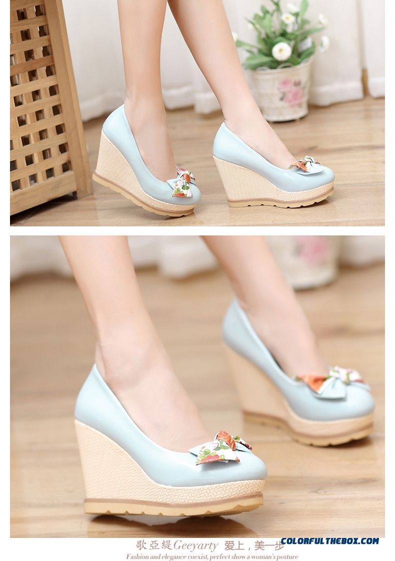 Autumn Sweet Bow-tie Round-toe Wedge Heel Shallow Mouth High-heeled Pumps Women Shoes - detail images
