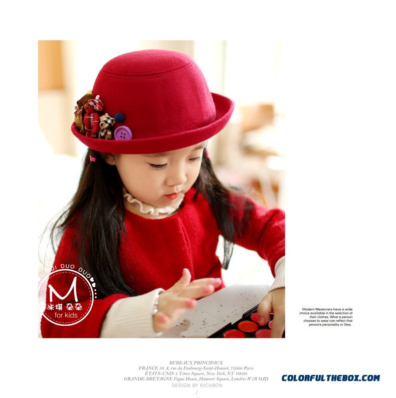 Baby Fisherman Hat Boys And Girls Woolen Top Hat Parent-child Kids Design Boutique High-quality - detail images