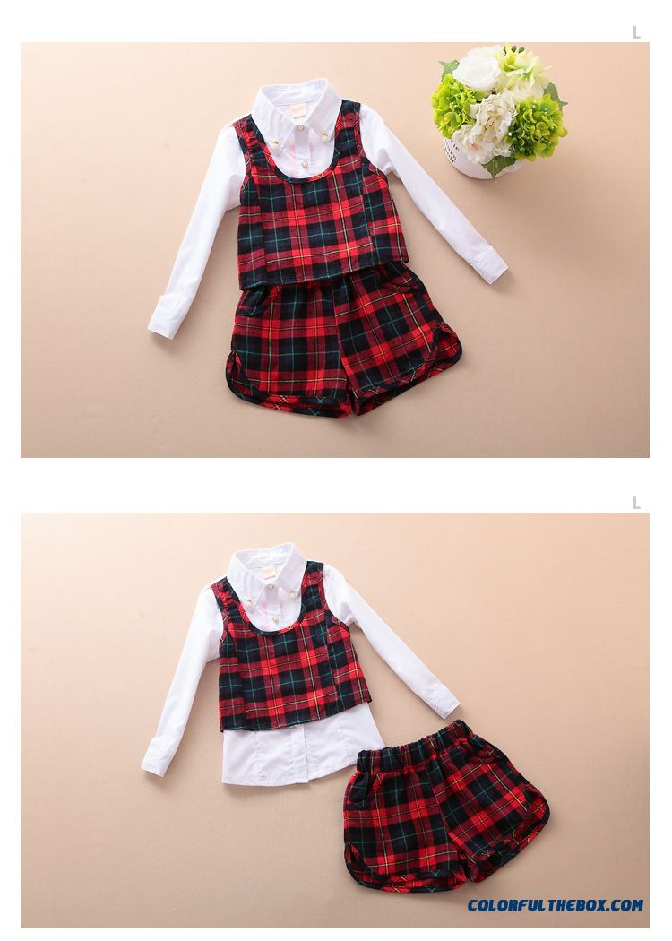 Shirt design for baby girl - Baby Girl Plaid Suit 2016 Kids College Design Style Shirts Shorts Two Piece Of Clothing