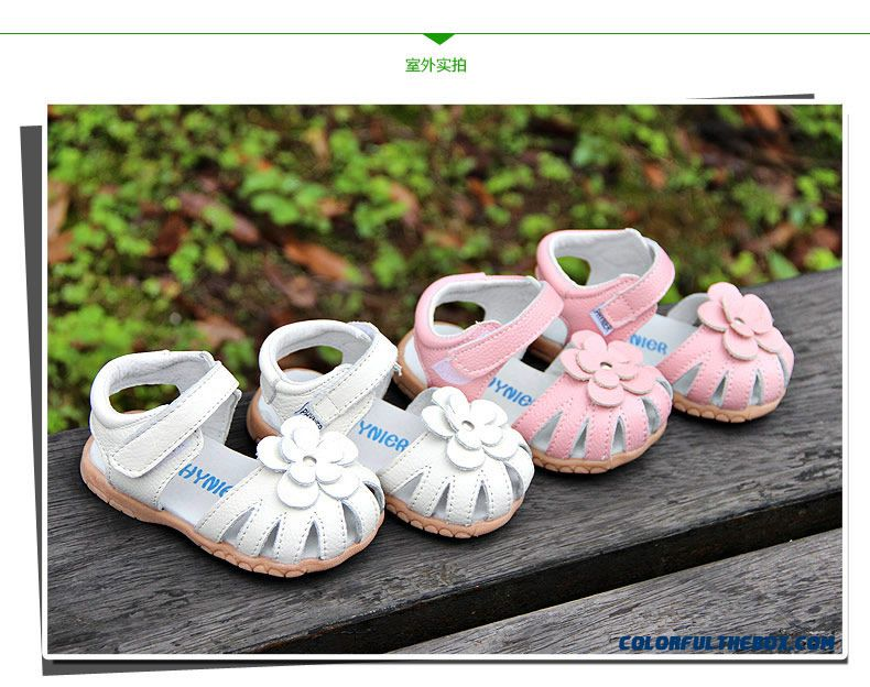 Cheap Baby Girls Sandals Leather Flowers Sandals 1-5 Years