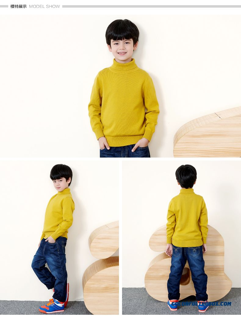 Balabala Kids Clothing Boy Sweater Pullover Sweater With High Collar Sweater Fall And Winter Kids' Bottoming Shirt - detail images
