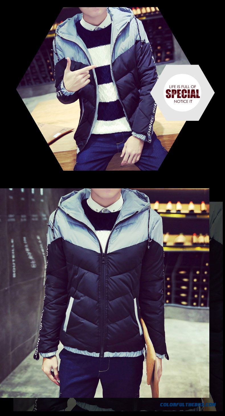 Best Selling New Winter Men Letters Stitching Slim Hooded Hit Colar Coats - detail images