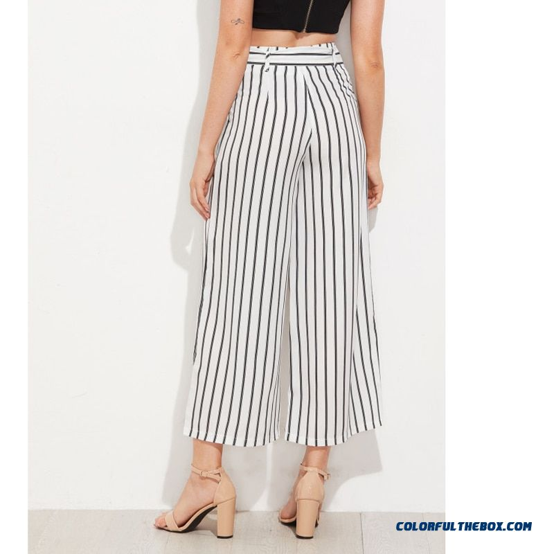 Black Striped Self Tie Wide Leg Pants Women Fashion High Waist Loose Ankle-length Pants Women Casual Vacation Pants Female - detail images