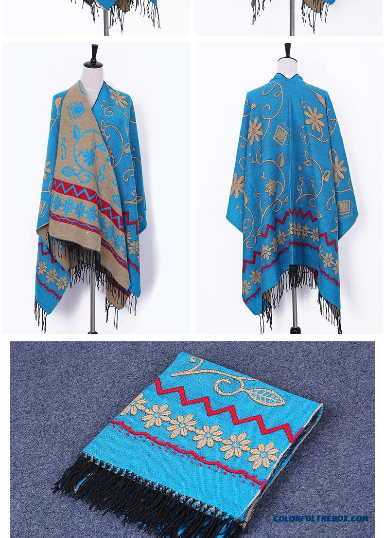 Bohemian Ladies Winter Cashmere Shawl Women Scarves Dual-purpose Ethnic Style Doul-sided Cape Cloak - detail images