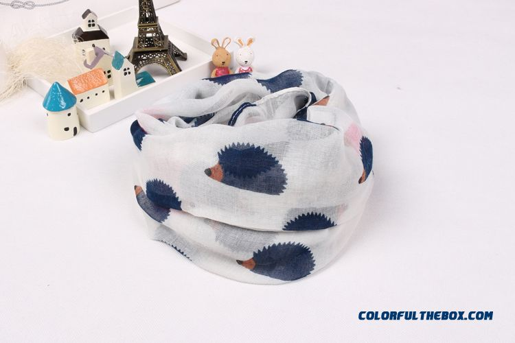 Boy Kids Pure Cotton Voile Yarn Kids Hedgehog Pattern Scarves Special Clearance Free Shipping - detail images
