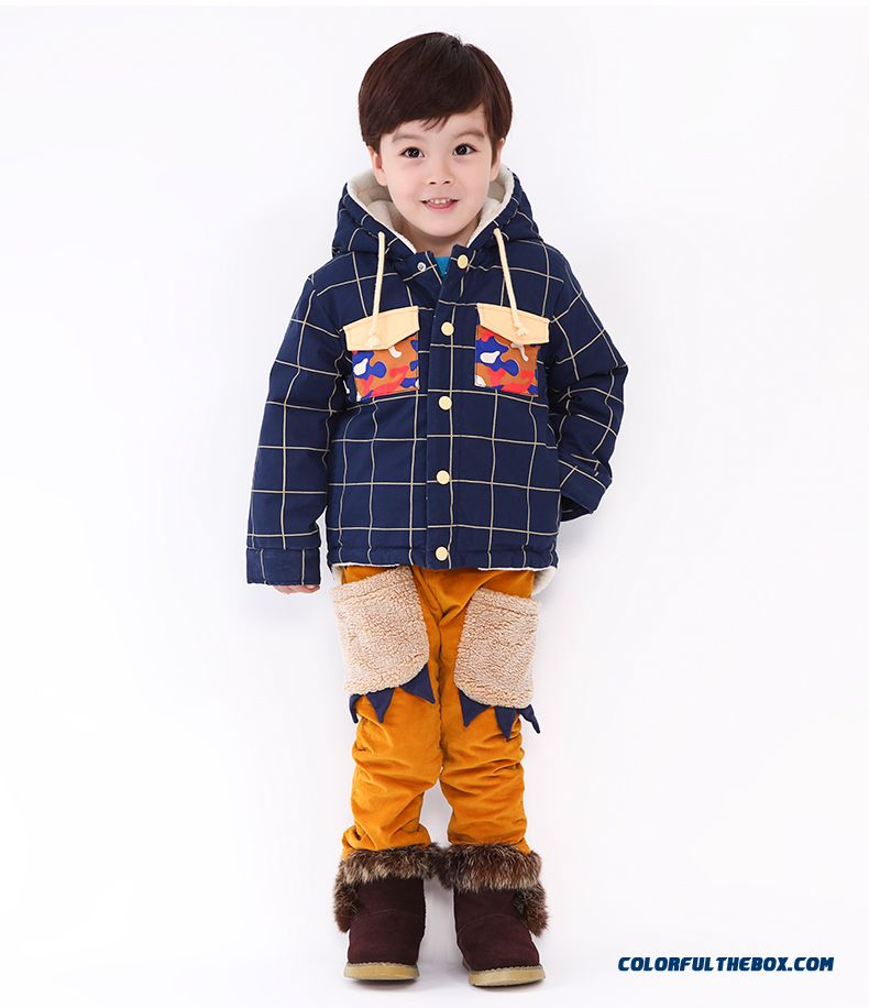 Boys And Girls Corduroy Cotton Pants Plus Thick Velvet Pants Cartoon Handsome All-match Kids Clothing - detail images
