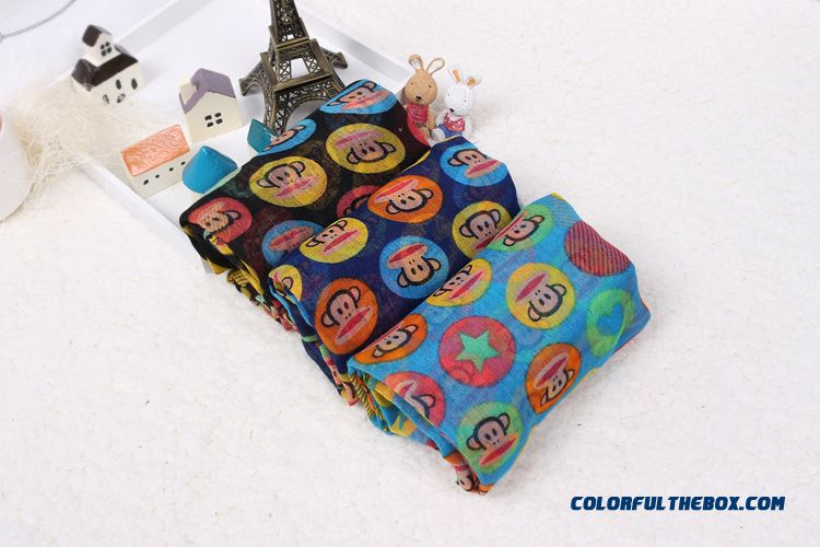 Boys Monkey Printing Cotton Yarn Multicolor Scarves Parent-child Mother And Son Style Accessories - detail images