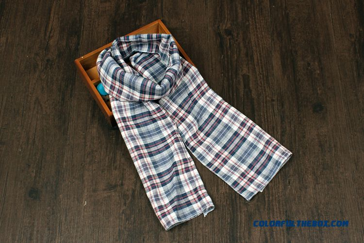 British All-match Plaid Scarf Sided Babies Boys And Girls Cotton & Linen Neck Scarves Kids - detail images